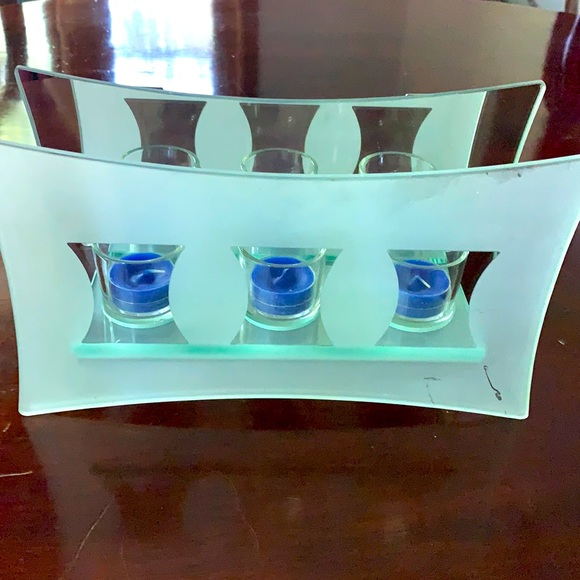 PartyLite candle trio mirrored holder